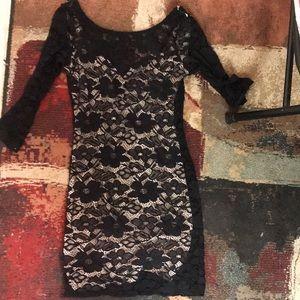 Woman's black lace dress